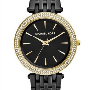🔥 MICHAEL KORS Darci Black Dial Ion-plated Watch